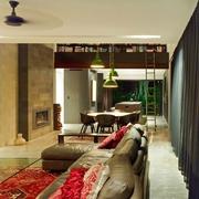 现代设计别墅客餐厅