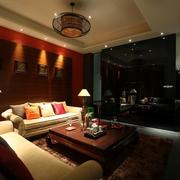 中式风格暗色系设计客厅