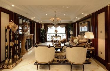 典雅美式客厅背景墙装修效果图