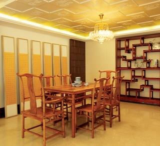 140平新中式风格住宅欣赏餐厅全景