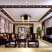 奢华复古家居 新中式客厅吊顶装饰效果图