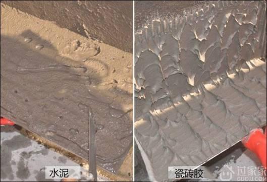 水泥浆施工:传统的水泥河沙贴砖,施工步骤复杂有湿墙,泡砖,支撑等