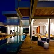现代豪华别墅设计花园全夜景