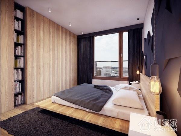 卧室隐形门装修效果图 原木色的美