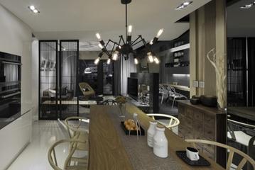 现代墨染空间效果图欣赏餐厅全景