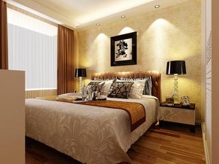 高档卧室花纹壁纸效果图