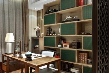 奢华中式样板房欣赏书房书架