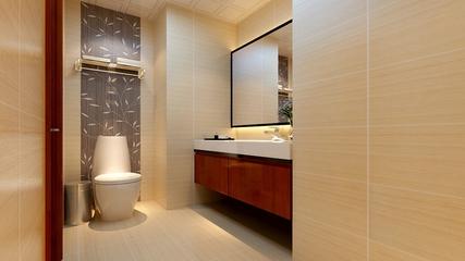 110平中式雅居欣赏卫生间背景墙
