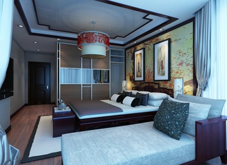 雅致新中式案例欣赏卧室吊顶