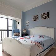 温馨美式田园风 卧室落地窗装修效果图