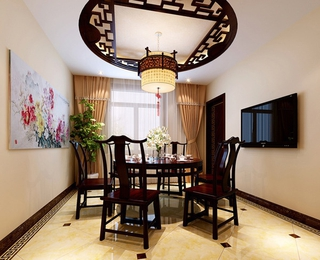 典雅新中式餐厅灯饰效果图 完美中国风家居