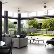 现代独立别墅客厅全景