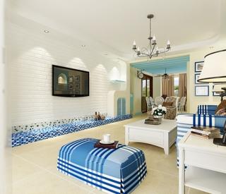 情迷地中海三居室欣赏客厅背景墙