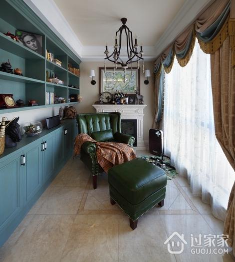 蓝色欧式风情 阳台书架设计效果图