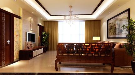 120平新中式雅居欣赏客厅电视柜