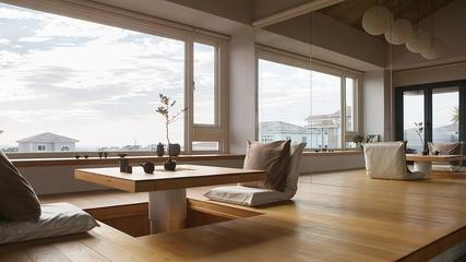 原木色现代别墅欣赏休息室