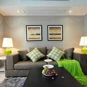 64平清爽两居室欣赏客厅灯饰设计