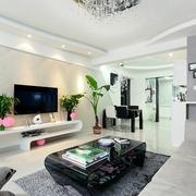 白色三居现代风格效果图客厅