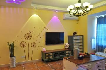79平田园风三居室欣赏客厅背景墙