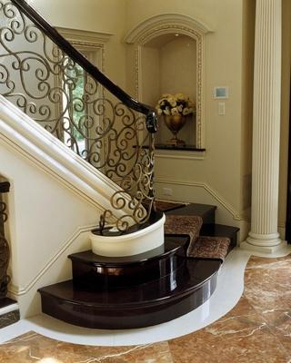 法式别墅效果图楼梯图片