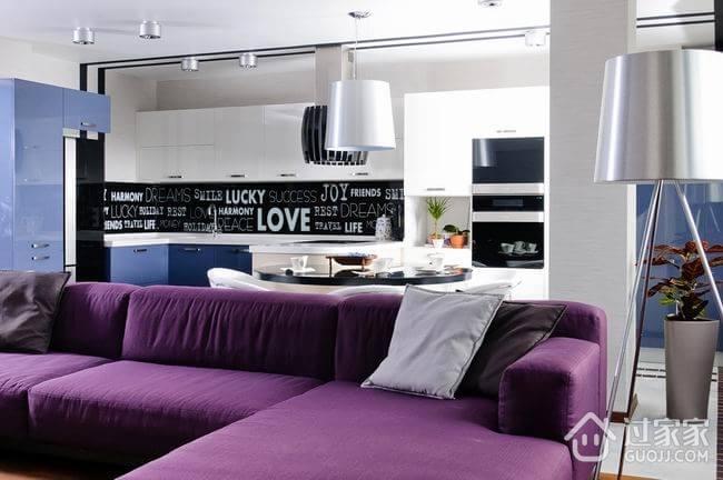 110平紫色的美居欣赏客厅设计