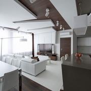 现代全白公寓客厅全景