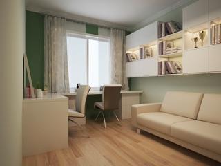 120平简约三居案例设计欣赏书房窗帘