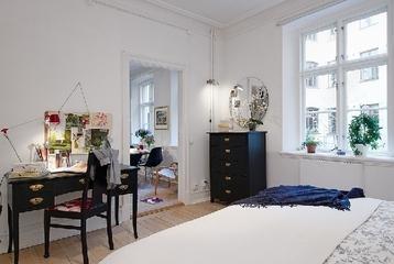 白色北欧两居案例欣赏卧室梳妆台