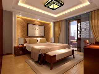 规整新中式两居室欣赏卧室背景墙