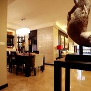 新中式风住宅效果图餐厅一景