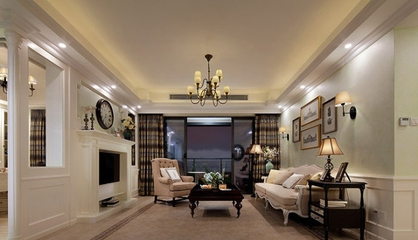 潮流家居 美式客厅背景墙装修效果图