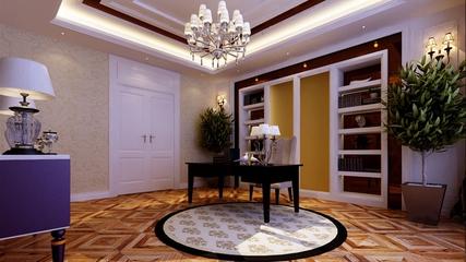 新古典风三居案例欣赏书房书架