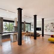 现代开放式别墅客厅全景