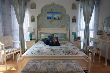 蓝色地中海住宅案例欣赏卧室陈设