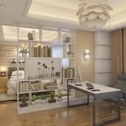 现代卧室书架隔断设计效果图 10万打造完美家居