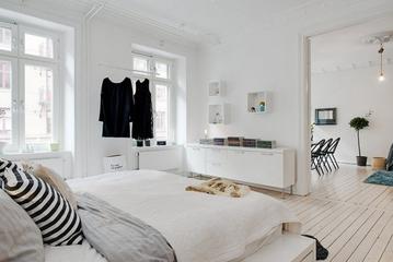 白色北欧两居案例设计欣赏卧室窗户