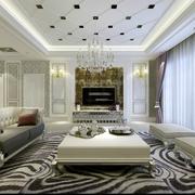 高端大气三居室 客厅背景墙装修效果图