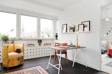 63平白色宜家住宅欣赏书房