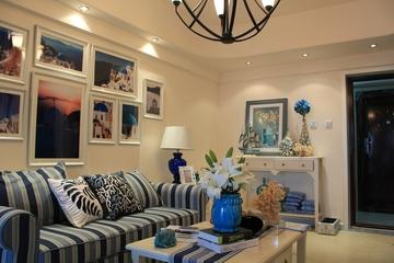 89平地中海样板房欣赏客厅照片墙设计