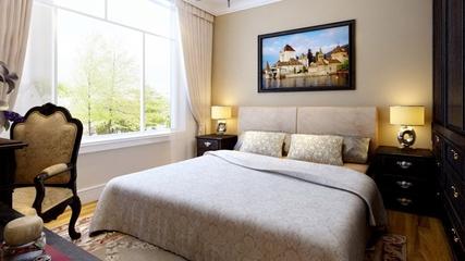 新古典三居室案例欣赏卧室窗帘