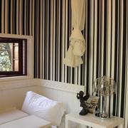 新古典复式设计黑白条纹背景墙