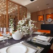 83平新中式三居室 餐厅隔断装修效果图