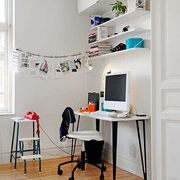 北欧风卧室书桌设计效果图
