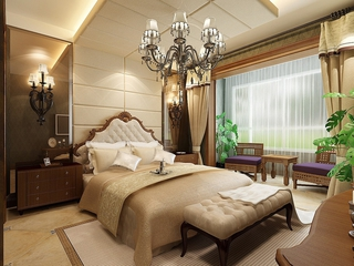 新中式卧室灯饰装饰效果图 精美家装空间