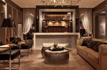 130平欧式奢华样板房欣赏客厅陈设
