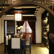 餐厅中式圆形门效果图