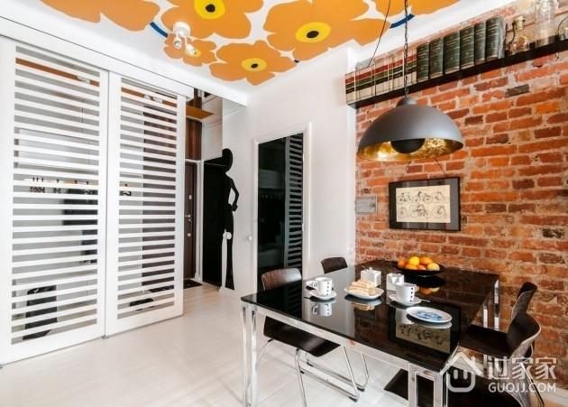 橙色活力一居室欣赏餐厅效果