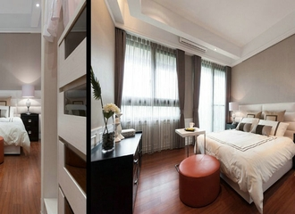 白色现代大四居欣赏卧室陈设