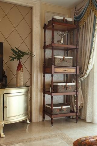 客厅搁物架摆放图 木色浪漫风情
