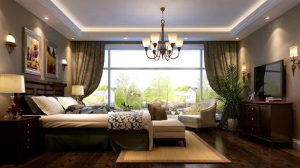 中式雅居三居室欣赏卧室吊顶
